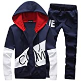 Manluo Boys Tracksuits Calvin Print Sweatsuits Hoodies Sports Jogging Suits Workout Slim Fit Casual