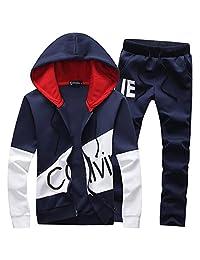 Manluo Boys Tracksuits Calvin Print Sweatsuits Hoodies Chidren Jogging Suits