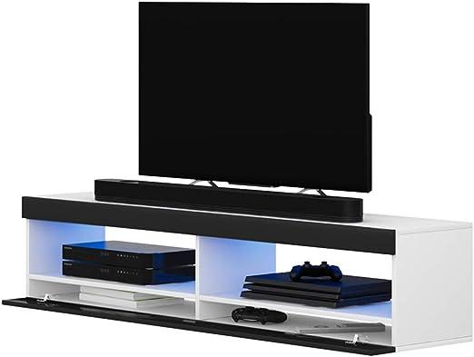 Selsey Mueble para Televisor Blanco Mate y Negro Brillante 100 x ...