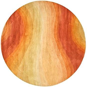 EORC T90OR Hand Tufted Wool Red Desert Rug, 4u0027 Round, Orange