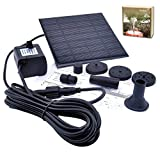 Solar Powered Fountain Pump, JARAGAR 1.2W Free Standing Floating Design Diversified Nozzle Solar Fountain Pump Brushless Bird Bath Fountain Solar Power Water Floating Pump Kit for Pond Pool Garden