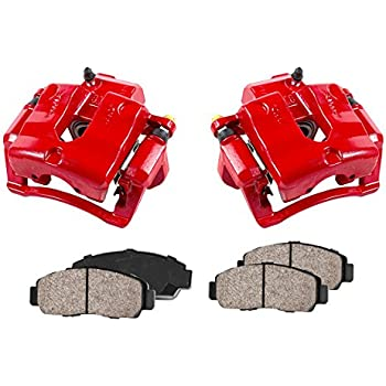 CCK02427 4 Quiet Low Dust Ceramic Brake Pads 2 REAR Performance Red Powder Coated Calipers +