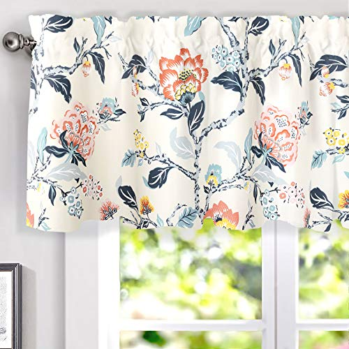 DriftAway Ada Botanical Print Lined Flower Leaf Thermal Insulated Energy Saving Window Valance for Living Room Kitchen 2 Layers Rod Pocket 52 Inch by 18 Inch plus 2 Inch Header Ivory Blue Blush Gray (Window Cool Valances)