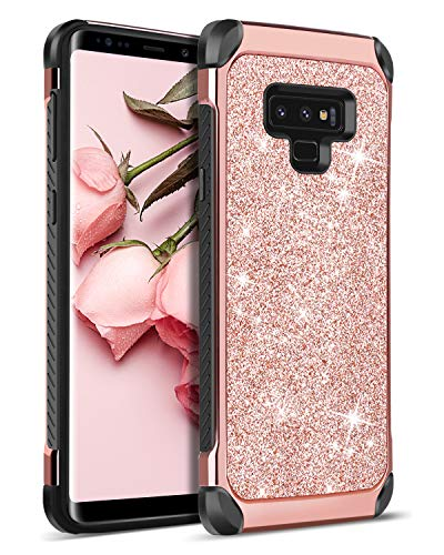 N Galaxy Note9 case 2 in 1 Bling Glitter Shockproof Two Layer Slim Protective Shiny Girl Women Faux Leather Hard Case Full Body Soft Bumper Phone Cover for Galaxy Note 9, Rose Gold ()