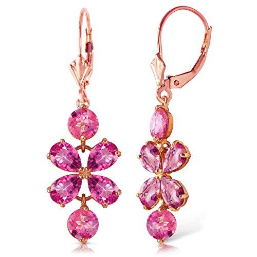 (ALARRI 5.32 Carat 14K Solid Rose Gold Pink Topaz Flower Earrings)