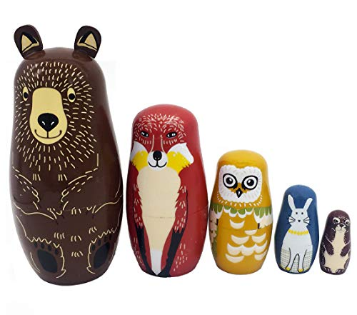 Moonmo Cartoon Brown Bear Fox Owl Rabbit Raccoon Nesting Doll Wooden Matryoshka Russian Doll Handmade Stacking Toy Set 5 Pieces For Kids from Moonmo