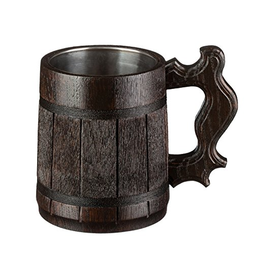 Wood Beer (Beer Mug / Wooden Beer Mug / Tankard / Wood Mug By WoodenGifts - 0.6 Litres Or 20oz Wooden Mug - Wooden Coffee Mug with Stainless Steel Cup Inside (Dark Brown))