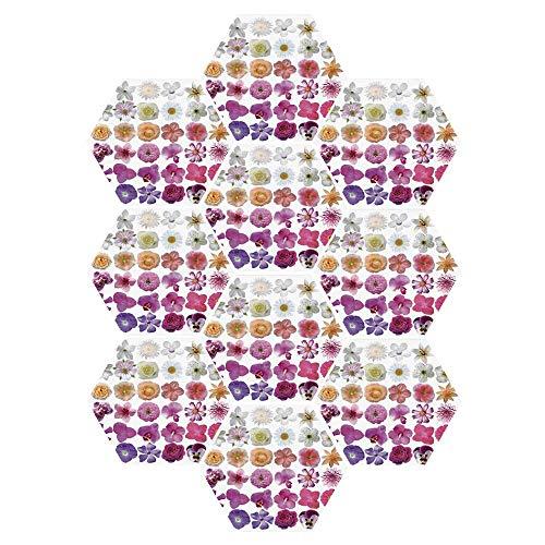 C COABALLA Floral Durable Hexagon Ceramic Tile Stickers,Pattern of Vase Flowers Petunia Botanic Wild Orchid Floral Nature Art Decor for Living Room Kitchen,9