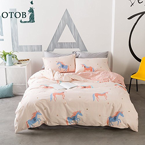 ORoa Soft Cute Cartoon Animal Unicorn Bedding Duvet Cover Twin Size Set for Kids Boys Girls Cotton 100 Percent, Children Geometric Checkered Gingham Bedding Sets, Reversible Breathable(Pink, Twin) Gingham Duvet Set