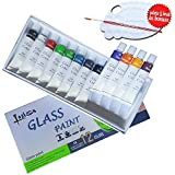Lasten Glass Paint,Stained Gallery Glass Paint Set, Paint on Glass Crafts,Glass Art Painting Supplies, Permanent Craft Paint Kit on Glass Surface (12 Colors/set)