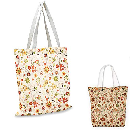 fashion shopping tote bag Paisley Floral Design with Spring Motifs and Paisley Elements Oriental in Ethnic Design Multicolor canvas tote bag