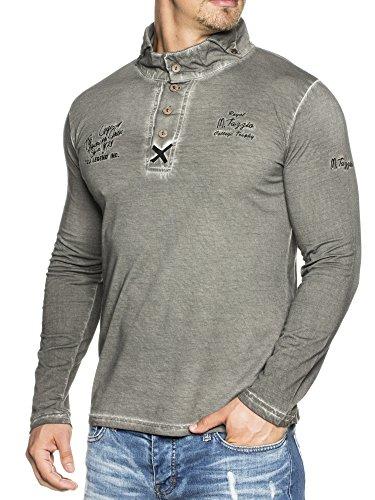TAZZIO Vintage Longsleeve Langarm Polo-Shirt 4112 Anthrazit M