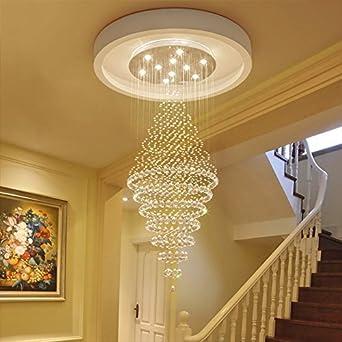 Escalera de Caracol Araña de Cristal, Araña Larga Moderna Villa de Dúplex Simple Sala de Estar Grande Cristal Araña de Madera (Tamaño : 3 lights/30 * 80cm): Amazon.es: Iluminación
