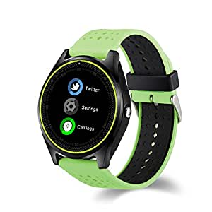 Efanr V9 Bluetooth Smart Watch with Camera Sim Card Slot, Wrist Watch Smartwatch Pedometer Fitness Activity Tracker Monitor for Android Samsung IOS iPhone X 8 Plus Men Women (Green)