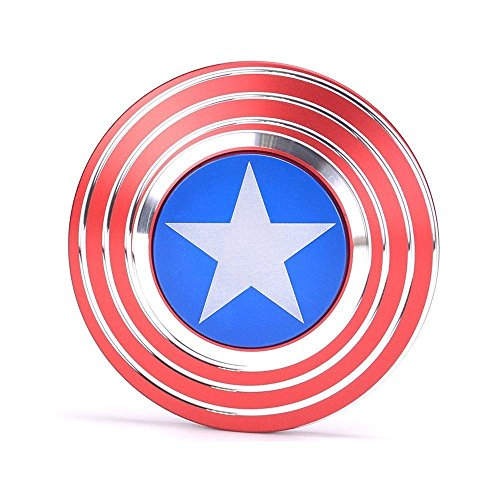 Captain America Shield Fidget Spinner, Cubur Metal 2 Sided Super Hero Metal Fidget Toy for Adults and Kids (What's The Best Fidget Spinner Brand)