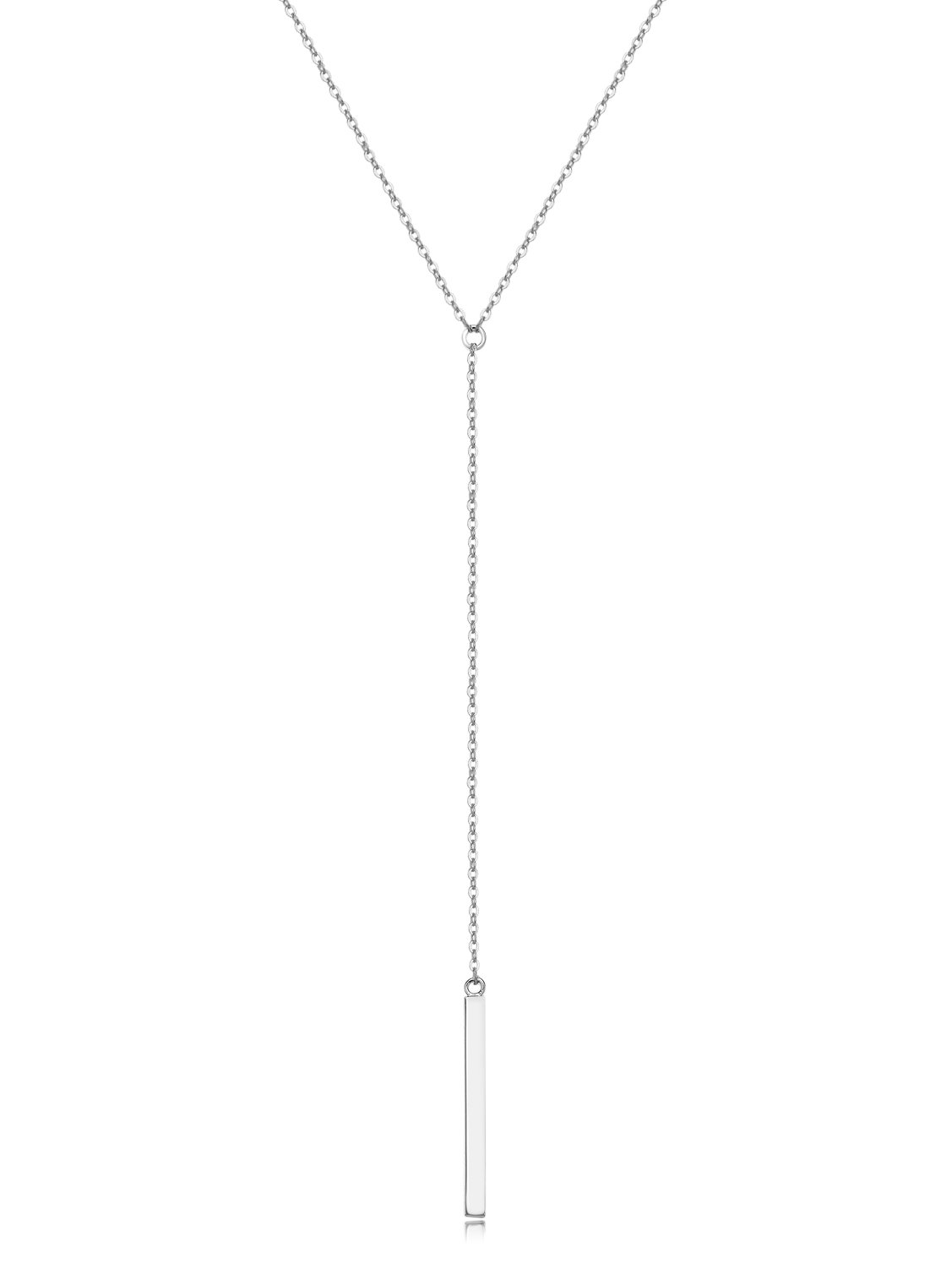 Metzakka Sterling Silver Lariat Necklace, Chic Minimalist Drop Bar Y Chain Necklace for Women by Metzakka