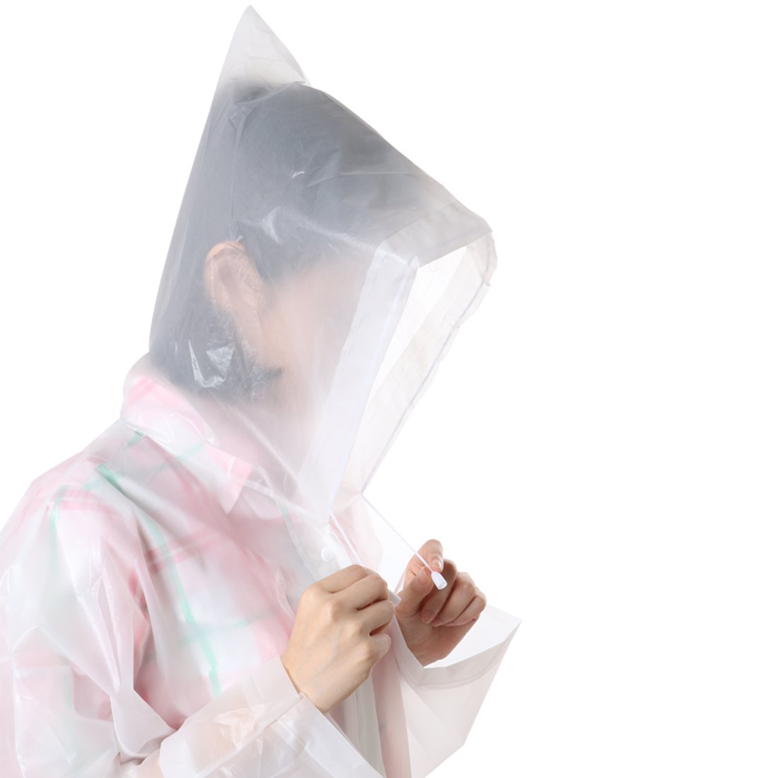 kilofly Waterproof Ultra Light Drawstring Raincoat Long Sleeve Hood Rain Poncho by kilofly (Image #5)