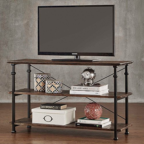 ModHaus Modern Industrial Brown Rustic Wood and Metal TV Stand - for Televisions up to 48 inches Includes ModHaus Living (TM) Pen (Lcd Tv Bookcase)