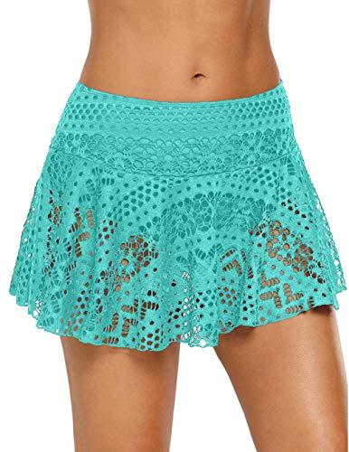 (PARICI Women's Lace Hollow Out Tankini Swimsuit Swim Skirted Bikini Bottom S-XXXL Mint)