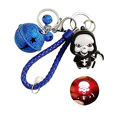 TSJ Grim Reaper Figure Detachable Key Ring LED Scary Sound Toys Lobster Clasp Keychain With Jingle Bells for Halloween - Jingle Bell Lights