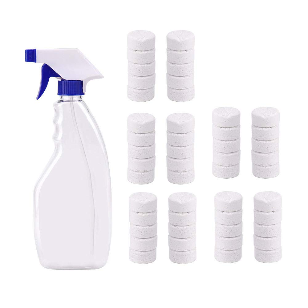 Multi-Function Spray Cleaner Transparent Cleaning Watering Can +10Pcs/20Pcs/50Pcspcs Effervescent Tablets (10PCS) Sisit