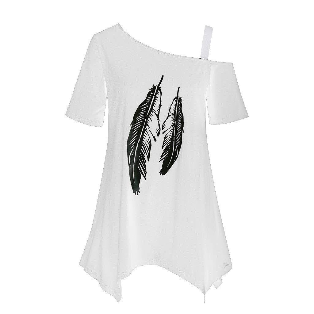 Loolik Camisetas Mujer Verano 2019,Ocio Camiseta con Estampado de Plumas de un Solo Hombro Irregular