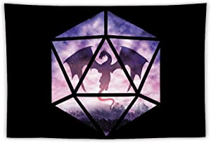 Dungeons Dragons D20 Purple Sky Wall Hanging Tapestry,Beach Blanket Tapestry Dorm Decor for Home