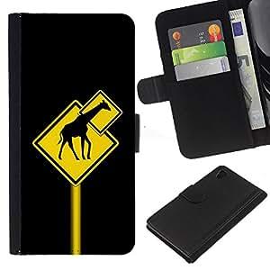 Planetar® Modelo colorido cuero carpeta tirón caso cubierta piel Holster Funda protección Para Sony Xperia Z4 / Sony Xperia Z4V / E6508 ( Funny Giraffe Traffic Sign )