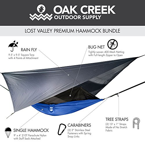 Lost Valley Camping Hammock   Bundle Includes Mosquito Net, Rain Fly, Tree Straps, and Compression Sack   Weighs Only 4 Pounds, Perfect for Hammock Camping   Lightweight Nylon Portable Single Hammock