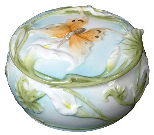 3.5 Inch Ceramic Style Trinket Box with Butterfly Calla Motif - Butterfly Green Trinket Box