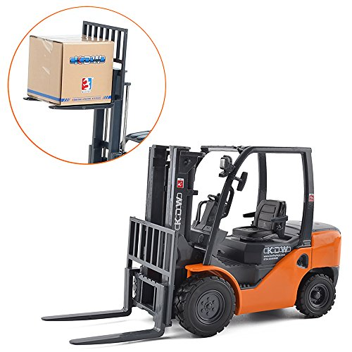 KDW 1/20 Scale Die-cast Forklift Car Toy Metal Model Construction Engineering Vehicle Orange