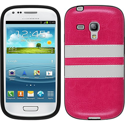 PhoneNatic Silicone Case Compatible with Samsung Galaxy S3 Mini - Stripes hot Pink Cover Cover
