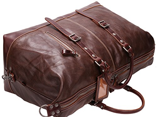 Iblue Genuine Leather Travel Duffel Weekend Bag Luggage Carry On Gym Handbag D05(dark brown) by iblue (Image #4)