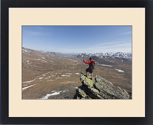 Framed Print of A hiker looks across the upper Nigu River Valley in Gates of the Arctic by Fine Art Storehouse