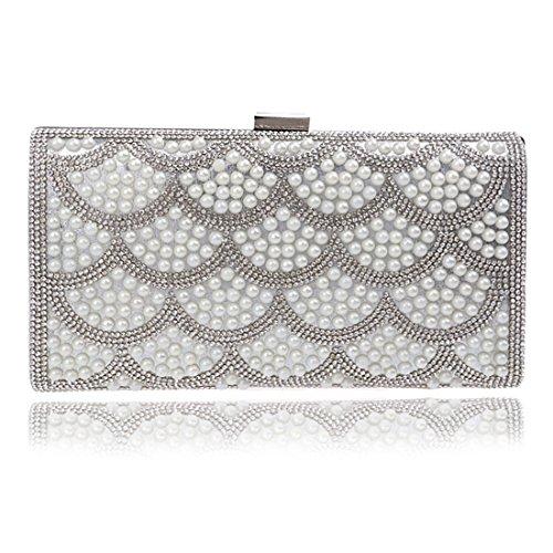 Argento da Fly Fashion Evening Clutch Argento Borsa New sera Evening Bag Flower Ladies Bag Banquet Colore pRx68pqHw