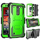 LG Escape 3 Case, LG Phoenix 2 Case, LG Treasure LTE Case, Tinysaturn(TM) [Yvenus Series] [Green] Shock Absorbing Holster Belt [Built-In Screen] Hard Shell Kickstand Cover For LG K7/ K8/ Tribute 5 For Sale