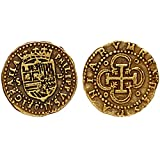 Replica Gold Coloured Doublon Felipe II Spanish Armada Coin For Childrens Pirate Chest G71
