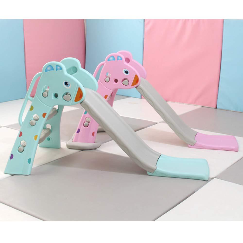 ZYMSD Folding Erste kleine Slide Kinder Kleinkind spielt Spielzeug Freistehende Slide Basketballkorb Set mit Basis//Basketball Verwenden Indoor Outdoor Garten,Gr/ün