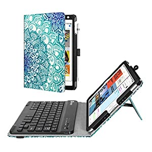 Fintie Keyboard Case for Mini 5th Gen 2019 / iPad Mini 4 - [Corner Protection] Folio Stand Cover w/Pencil Holder, Removable Wireless Bluetooth Keyboard for iPad Mini 5 / Mini 4, Emerald Illusions