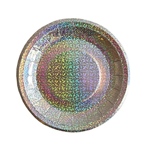 Bash Party Goods 100117 Mini Disco Paper Plates, Silver -
