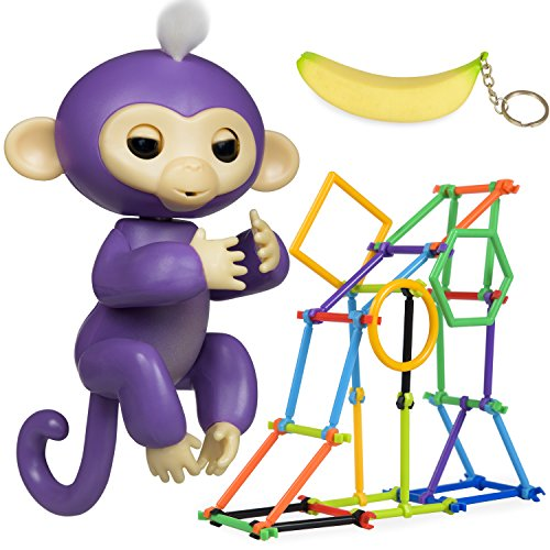 Finger Monkey Interactive Toy   Accessories Bonus  Baby Monkey Jungle Gym Playset 50 Pieces   Banana Squishy Keychain   Great Gift For Girls   Boys
