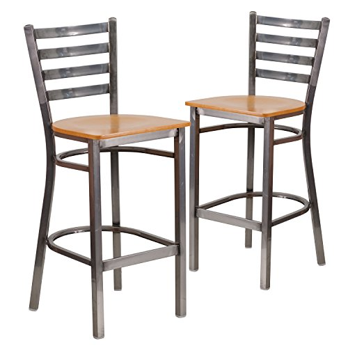 Flash Furniture 2 Pk. HERCULES Series Clear Coated Ladder Back Metal Restaurant Barstool - Natural Wood Seat