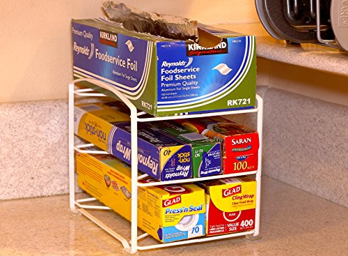 Large Product Image of Simple Houseware Kitchen Wrap Organizer Rack, White