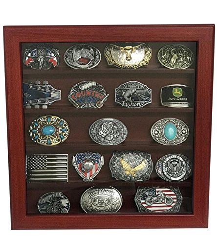 (Cherry Wood Wall Belt Buckle Display Case with Five Rows for Collectible Belt Buckles)