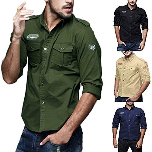 Manga Otoño Top Camisa Militar Slim Blusa De Hombres Shirt Solapa De Botón Carga Khaki ALIKEEY Trabajo Larga Hombres Cotton Casual Ropa Casual z70aq7