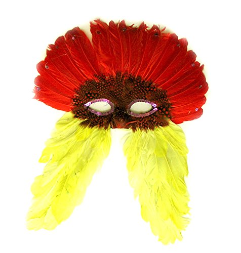 Costume Bird Wings Yellow (Red Yellow Costume Feather MASK For Mardi Gras)