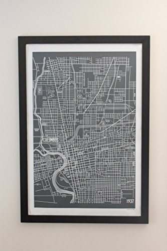 Columbus Ohio Vintage Style Map Canvas 24 x 36 Poster