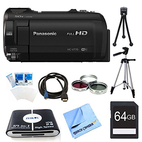 Panasonic HC-V770K HD Camcorder 64GB Bundle - Includes