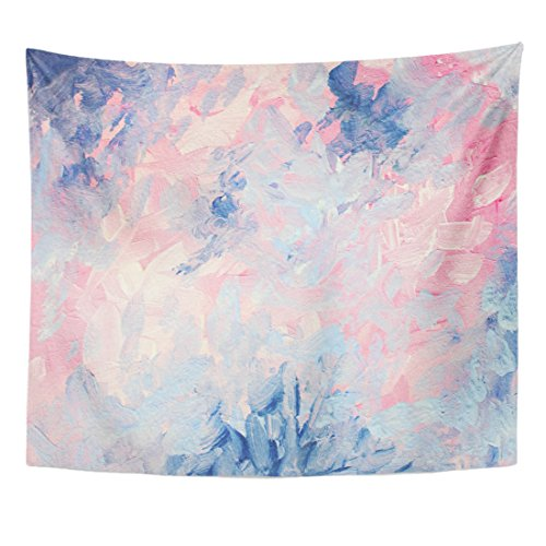 (TOMPOP Tapestry Watercolor Chic Abstract Gouache Painting Dreamy Elegant and Cheerful Pink Blue Abstraction Hand Modern Home Decor Wall Hanging for Living Room Bedroom Dorm 50x60 Inches)