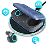 Wireless Earbuds,Waterproof Bluetooth5.0 Earbuds with Qi-Enabled Wireless Charging Case,Magical Ice Blue Breathing Light, Wireless Headphones HD Stereo Sound 24H Playback Time